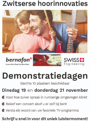 Uitnodiging: Bernafon demonstratiedagen
